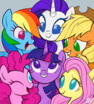 Size: 4500x5000 | Tagged: alicorn, applejack, artist:mn27, bust, cute, earth pony, female, fluttershy, gray background, looking at each other, mane six, mare, no pupils, one eye closed, open mouth, pegasus, pinkie pie, pony, portrait, rainbow dash, rarity, safe, simple background, smiling, twilight sparkle, twilight sparkle (alicorn), unicorn, wink