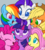Size: 4500x5000 | Tagged: safe, artist:mn27, applejack, fluttershy, pinkie pie, rainbow dash, rarity, twilight sparkle, alicorn, earth pony, pegasus, pony, unicorn, bust, cute, female, gray background, looking at each other, mane six, mare, no pupils, one eye closed, open mouth, portrait, simple background, smiling, twilight sparkle (alicorn), wink