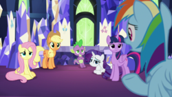 Size: 1920x1080 | Tagged: alicorn, applejack, cutie map, dragon, fluttershy, rainbow dash, rarity, safe, screencap, spike, spoiler:s09e14, the last laugh, twilight sparkle, twilight sparkle (alicorn), winged spike