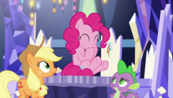 Size: 1920x1080 | Tagged: applejack, cutie map, dragon, pinkie pie, safe, screencap, spike, spoiler:s09e14, the last laugh, winged spike