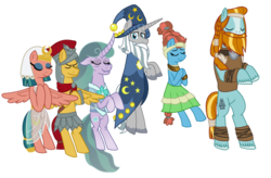 Size: 1104x724 | Tagged: safe, artist:alexeigribanov, flash magnus, meadowbrook, mistmane, rockhoof, somnambula, star swirl the bearded, earth pony, pegasus, pony, unicorn, eyes closed, female, male, mare, pillars of equestria, simple background, stallion, transparent background