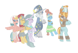 Size: 1079x741 | Tagged: safe, artist:alexeigribanov, flash magnus, meadowbrook, mistmane, rockhoof, somnambula, star swirl the bearded, earth pony, ghost, pegasus, pony, unicorn, female, male, mare, pillars of equestria, simple background, spirit, stallion, transparent background