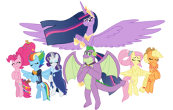 Size: 1117x715 | Tagged: alicorn, applejack, artist:alexeigribanov, dragon, earth pony, female, fluttershy, male, mane seven, mane six, mare, older, older applejack, older fluttershy, older mane 6, older mane 7, older pinkie pie, older rainbow dash, older rarity, older spike, older twilight, pegasus, pinkie pie, pony, princess twilight 2.0, rainbow dash, rarity, safe, simple background, spike, spoiler:s09e26, the last problem, transparent background, twilight sparkle, twilight sparkle (alicorn), unicorn, winged spike
