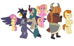 Size: 1130x707 | Tagged: artist:alexeigribanov, earth pony, future six, gallop j. fry, georgia (character), griffon, kirin, li'l cheese, luster dawn, older, older gallop j.fry, pony, river song (character), safe, simple background, spoiler:s09e26, the last problem, transparent background, unicorn, yak, yelena