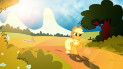 Size: 3840x2160 | Tagged: applejack, artist:estories, artist:laszlvfx, lens flare, pony, safe, solo, wallpaper