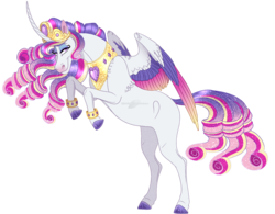 Size: 1177x919 | Tagged: alicorn, artist:bijutsuyoukai, colored wings, female, magical lesbian spawn, mare, multicolored wings, oc, offspring, parent:princess cadance, parent:rarity, parents:raridance, pony, rearing, safe, solo, wings