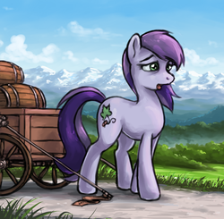 Size: 650x638 | Tagged: artist:choedan-kal, barrel, cart, earth pony, female, mare, mountain, mountain range, oc, oc:cork dork, oc only, pony, safe, solo, tired