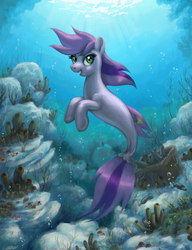 Size: 626x814 | Tagged: safe, artist:choedan-kal, oc, oc only, oc:cork dork, pony, seapony (g4), female, mare, sea sponge, seaponified, solo, species swap, underwater