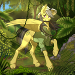 Size: 2000x2000 | Tagged: artist:twotail813, cheek fluff, chest fluff, clothes, crepuscular rays, daring do, ear fluff, female, forest, hat, jungle, leg fluff, mare, mouth hold, pegasus, pony, raised hoof, safe, solo, whip, wings