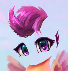 Size: 2327x2426 | Tagged: safe, alternate version, artist:xbi, scootaloo, pegasus, pony, bust, eye, eyes, faceless female, female, invisible, looking at you, no face, portrait, transparent, wip