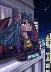 Size: 2480x3508 | Tagged: safe, alternate version, artist:lifejoyart, oc, oc only, oc:dawn sentry, bat pony, anthro, anthro oc, bat pony oc, bat wings, blushing, city, clothes, commission, cyberpunk, digital art, dress, dyed hair, ear fluff, female, looking up, mare, night, night sky, shooting star, sky, smiling, solo, stars, trenchcoat, wings