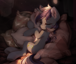 Size: 2000x1668 | Tagged: artist:inowiseei, cute, eyes closed, female, hug, mare, minubetes, minuette, pillow, pillow hug, pony, safe, sleeping, solo, unicorn