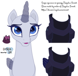 Size: 5850x5740   Tagged: safe, artist:doraair, tempest shadow, oc, alicorn, pony, alicorn oc, armor, base, broken horn, horn, simple background, solo, transparent background