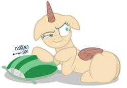 Size: 4400x3050   Tagged: safe, artist:doraair, oc, oc only, alicorn, pony, alicorn oc, annoyed, base, pillow, prone, simple background, solo, transparent background