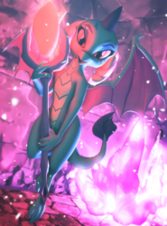 Size: 800x1080 | Tagged: safe, artist:feuerrader-nmm, princess ember, dragon, 3d, bloodstone scepter, cute, emberbetes, female, looking at you, solo
