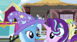 Size: 1280x709 | Tagged: safe, screencap, gallus, goldengrape, silverstream, sir colton vines iii, starlight glimmer, trixie, best gift ever
