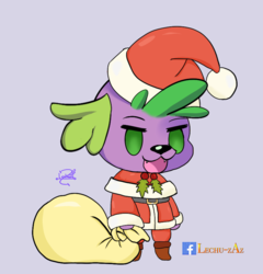 Size: 800x834 | Tagged: artist:lechu-zaz, christmas, dog, equestria girls, fate/grand order, hat, holiday, padoru, safe, santa hat, spike, spike the dog