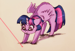 Size: 1080x735 | Tagged: safe, artist:buttersprinkle, twilight sparkle, alicorn, pony, arched back, behaving like a cat, cute, female, laser pointer, mare, missing cutie mark, simple background, solo, twiabetes, twilight sparkle (alicorn)