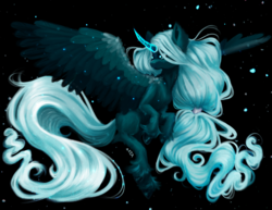 Size: 4008x3087 | Tagged: alicorn, alternate design, artist:thewickedvix, fluffy, flying, glowing horn, horn, looking at something, night, night sky, princess luna, safe, sky, solo, spread wings, stars, unshorn fetlocks, wings