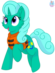Size: 973x1277 | Tagged: artist:rainbow eevee, cute, female, glitter drops, lifejacket, open mouth, pony, safe, series:springshadowdrops life jacket days, simple background, solo, transparent background, unicorn, vector
