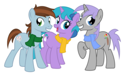 Size: 1716x1034 | Tagged: safe, artist:avastindy, derpibooru exclusive, oc, oc only, oc:coolj, oc:daydream star, oc:spark brush, earth pony, pony, unicorn, 2020 community collab, derpibooru community collaboration, clothes, female, male, mare, scarf, simple background, stallion, transparent background
