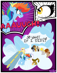 Size: 3500x4500 | Tagged: safe, artist:becauseimpink, dumbbell, fluttershy, gilda, hoops, quarterback, rainbow dash, griffon, pegasus, pony, comic:transition, angry, butterscotch, colt, comic, dialogue, dumb belle, female, filly, filly fluttershy, filly rainbow dash, guilder, male, rule 63, transgender, yelling, younger