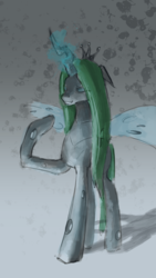 Size: 1080x1920 | Tagged: abstract background, artist:xxkrutoy, changeling, changeling queen, eyes closed, female, glowing horn, horn, queen chrysalis, raised hoof, safe, solo