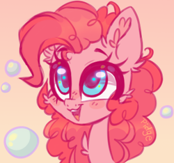 Size: 320x299 | Tagged: safe, artist:_spacemonkeyz_, pinkie pie, earth pony, pony, bubble, bust, cheek fluff, chest fluff, colored sketch, cute, diapinkes, ear fluff, female, mare, open mouth, portrait, solo
