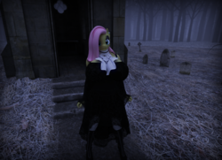 Size: 1600x1156   Tagged: safe, artist:hellbridge, fluttershy, anthro, 3d, big breasts, boots, breasts, busty fluttershy, clothes, dress, female, fluttergoth, goth, gravestone, huge breasts, shoes, solo