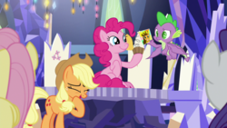 Size: 1920x1080 | Tagged: applejack, cheese sandwich, cutie map, dragon, female, fluttershy, male, pinkie pie, rarity, safe, screencap, spike, spoiler:s09e14, the last laugh, winged spike