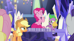 Size: 1920x1080 | Tagged: applejack, cupcake, cutie map, dragon, fluttershy, food, pinkie pie, rarity, safe, screencap, spike, spoiler:s09e14, the last laugh, winged spike