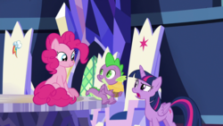 Size: 1920x1080 | Tagged: alicorn, cutie map, dragon, pinkie pie, safe, screencap, spike, spoiler:s09e14, the last laugh, twilight sparkle, twilight sparkle (alicorn), winged spike