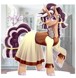 Size: 2588x2676 | Tagged: safe, artist:djkaskan, saffron masala, zesty gourmand, pony, unicorn, clothes, dress, female, fusion, mare, solo