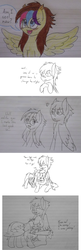 Size: 1280x3960 | Tagged: alternate hairstyle, artist:lovely pages, artist:phoenixswift, female, lined paper, male, mare, monochrome, oc, oc:fuselight, oc:lovely pages, oc only, pegasus, pony, safe, stallion, traditional art