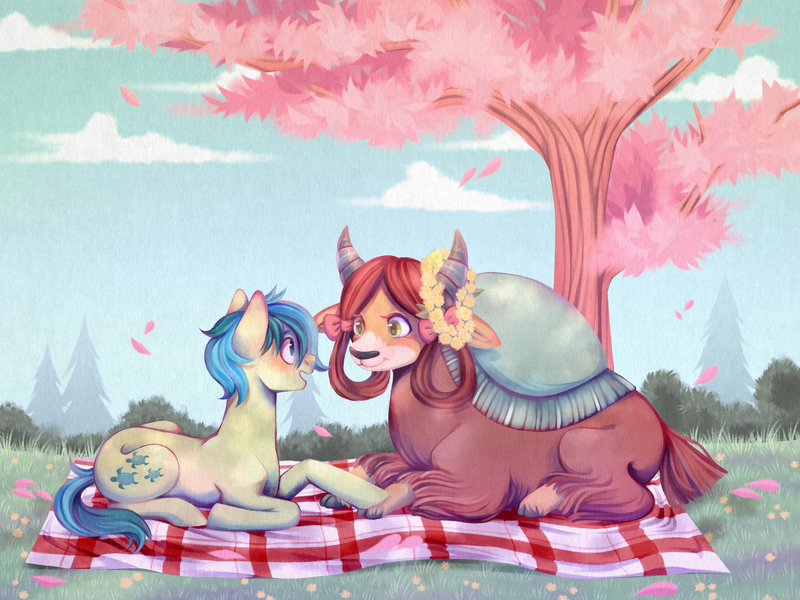 Size: 4000x3000 | Tagged: safe, artist:djkaskan, derpibooru exclusive, sandbar, yona, earth pony, pony, yak, blushing, bow, cloven hooves, cute, date, eye contact, featured image, female, floral head wreath, flower, hair bow, holding hooves, interspecies, looking at each other, lying down, male, monkey swings, open mouth, picnic blanket, prone, sandabetes, shipping, smiling, smiling at each other, straight, sweet dreams fuel, tree, yonabar, yonadorable