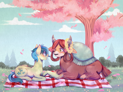 Size: 4000x3000 | Tagged: artist:djkaskan, blushing, bow, cloven hooves, cute, date, earth pony, eye contact, female, floral head wreath, flower, hair bow, holding hooves, looking at each other, male, monkey swings, picnic blanket, pony, prone, safe, sandabetes, sandbar, shipping, source needed, straight, tree, yak, yona, yonabar, yonadorable
