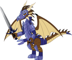 Size: 974x820 | Tagged: safe, artist:andrevus, oc, oc only, oc:andrevus whitetail, dragon, armor, dragonified, simple background, solo, species swap, sword, transparent background, weapon