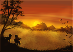 Size: 2038x1446 | Tagged: safe, artist:platinum feather, oc, oc only, oc:precised note, bird, pegasus, pony, commission, countryside, cowboy hat, field, grass, grass field, hat, mountain, mountain range, one hoof raised, scenery, silhouette, spread wings, sun, sunset, tree, wallpaper, watermark, wings