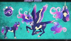 Size: 1575x915 | Tagged: safe, artist:bijutsuyoukai, oc, oc:midnight breeze, alicorn, pony, female, mare, parents:lunashy, reference sheet, solo