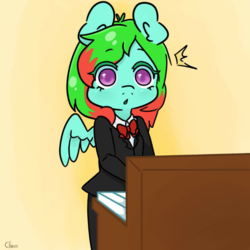 Size: 797x797 | Tagged: safe, artist:themoustachemare, oc, oc:precised note, anthro, :o, bowtie, clothes, colored pupils, eyebrows, gradient background, keyboard, musical instrument, open mouth, piano, playing, shocked, shocked expression, simple background, standing, startled, suit, tuxedo, watermark, wings