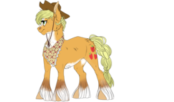 Size: 4197x2473 | Tagged: applejack, applejack's hat, artist:loladitz, artist:loladotz, bandana, cheek fluff, chest fluff, cowboy hat, cutie mark, ear fluff, earth pony, female, hat, older, older applejack, pony, safe, simple background, solo, spoiler:s09e26, the last problem, transparent background, unshorn fetlocks
