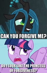 Size: 573x879 | Tagged: alicorn, caption, edit, edited screencap, image macro, open mouth, queen chrysalis, safe, screencap, spoiler:s09e24, spoiler:s09e25, testing testing 1-2-3, text, the ending of the end, twilight sparkle, twilight sparkle (alicorn), uvula