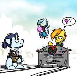 Size: 800x789 | Tagged: artist:captainhoers, baby, baby pony, christmas, christmas lights, family, firestarter spitfire, gravestone, holiday, hoof hold, oc, oc:concorde, offspring, parent:soarin', parent:spitfire, parents:soarinfire, pony, safe, soarin', spitfire, thermos, wreath