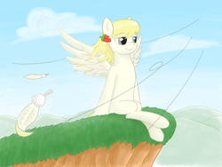 Size: 1268x952 | Tagged: safe, artist:supercastle, oc, oc only, oc:vanilla fragrant, pegasus, pony, feather, female, mare, sitting, wind