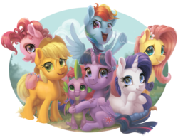 Size: 4134x3200 | Tagged: safe, artist:gor1ck, applejack, fluttershy, pinkie pie, rainbow dash, rarity, spike, twilight sparkle, alicorn, dragon, earth pony, pegasus, pony, unicorn, bracelet, end of ponies, female, flower, flower in hair, folded wings, head on hoof, hoof under chin, jewelry, looking at you, mane seven, mane six, mare, open mouth, outdoors, partial background, pillow, prone, simple background, sitting, smiling, spread wings, standing, transparent background, twilight sparkle (alicorn), underhoof, unshorn fetlocks, winged spike, wings