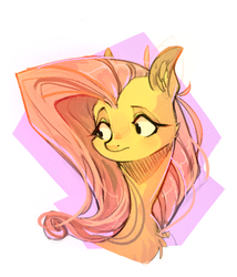 Size: 600x700 | Tagged: safe, artist:duckjifs246, fluttershy, pony, abstract background, bust, chest fluff, ear fluff, female, looking away, looking sideways, mare, partial background, portrait, simple background, solo, white background, worried