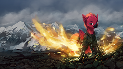 Size: 1920x1080 | Tagged: safe, artist:quvr, oc, oc only, oc:arcus flamefeather, hippogriff, clothes, fire, male, mountain, mountain range, solo