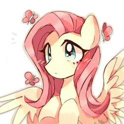 Size: 900x900 | Tagged: safe, artist:jojofassbender, fluttershy, butterfly, pegasus, pony, bust, cute, female, hooves to the chest, mare, portrait, shyabetes, simple background, solo, spread wings, three quarter view, white background, wings