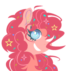 Size: 556x542 | Tagged: artist:ponyaa, bust, cute, diapinkes, ear fluff, female, mare, pinkie pie, pony, portrait, profile, safe, simple background, smiling, solo, stars, white background