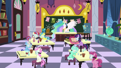 Size: 1280x720 | Tagged: safe, screencap, lemon hearts, lyra heartstrings, minuette, moondancer, princess celestia, ruby pinch, twilight sparkle, twinkleshine, pony, celestial advice, adorableshine, book, chalkboard, classroom, cute, cutelestia, dancerbetes, desk, female, filly, filly lemon hearts, filly lyra, filly minuette, filly moondancer, filly twilight sparkle, filly twinkleshine, flower pot, globe, lemonbetes, lyrabetes, magic, magic aura, minubetes, pinchybetes, safety goggles, school for gifted unicorns, twiabetes, younger